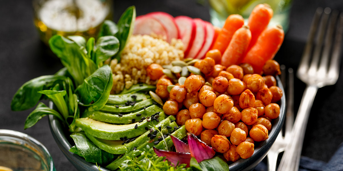 Health salad, Buddha bowl of mixed vegetables
