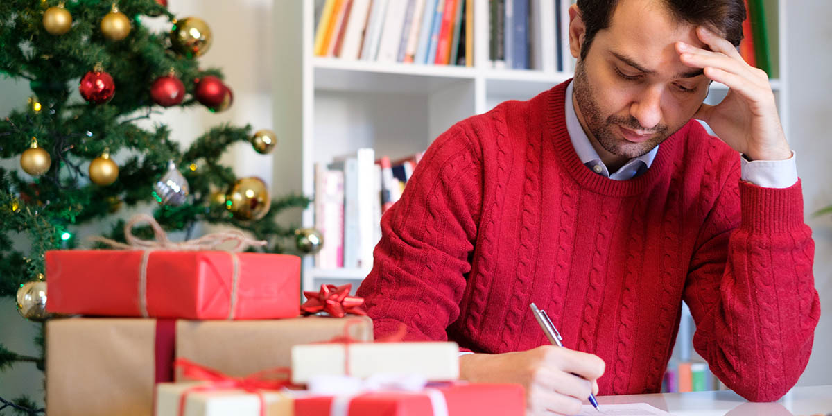 Man worried and in troubles for buying christmas present