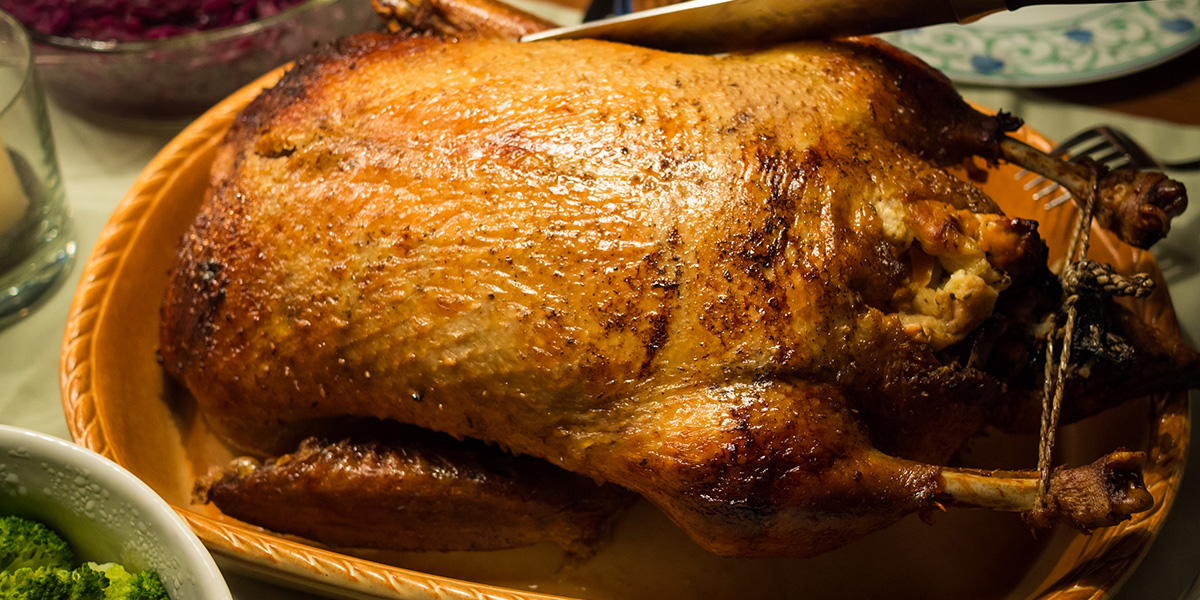 Close-Up Of Roasted Turkey At Christmas Dinner